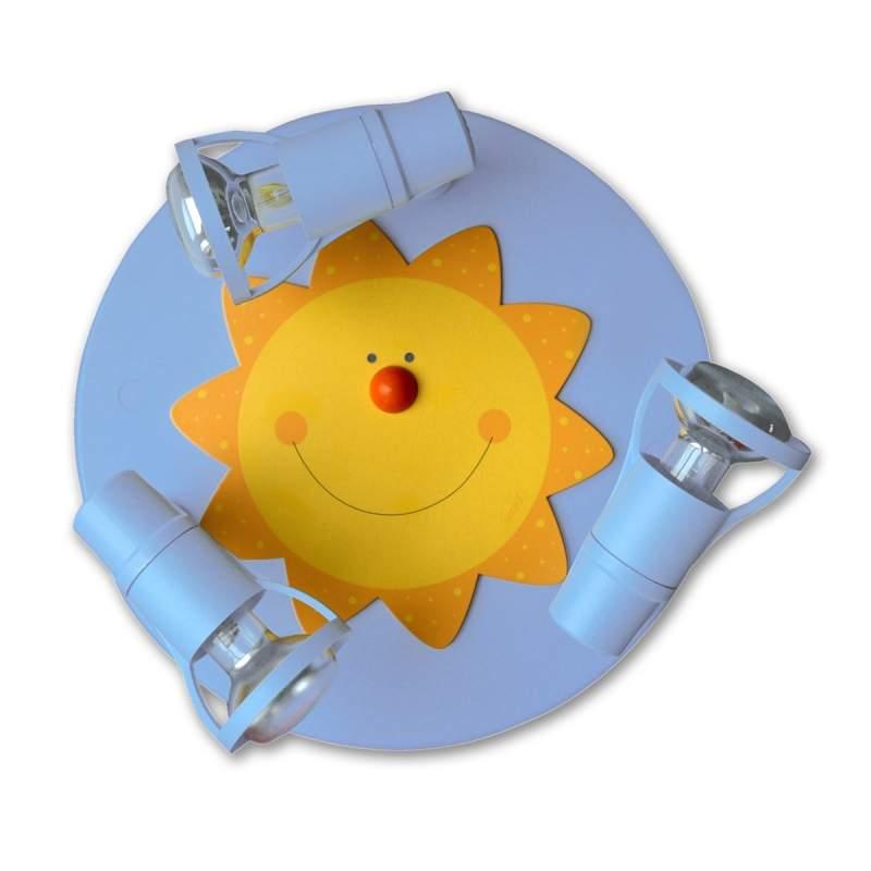 Leuke lichtblauwe 3-lichts plafondlamp ZON