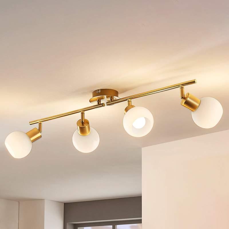 4-lichts LED-plafondlamp Elaina in messing