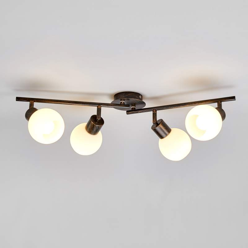 Keukenplafondlamp Elaina, roestbruin, 4-lichts