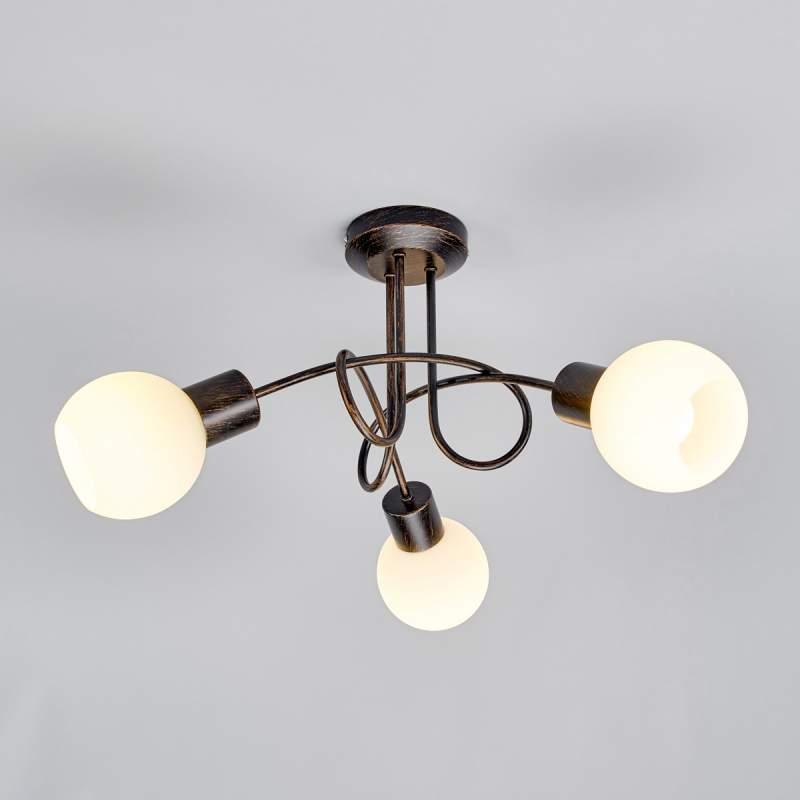 3-lichts LED-plafondlamp Elaina, roestbruin
