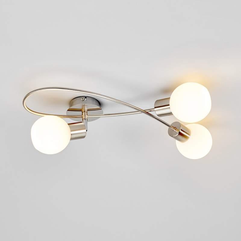 Chique LED-plafondlamp Elaina, 3-lichts mat nikkel