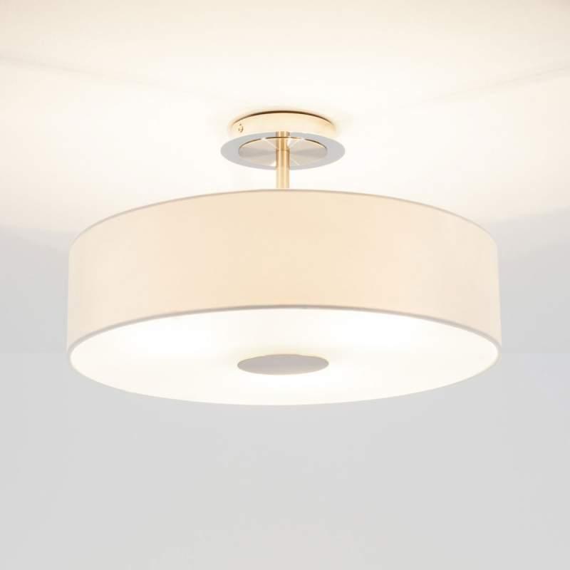 Tijdloze plafondlamp Josia van witte stof