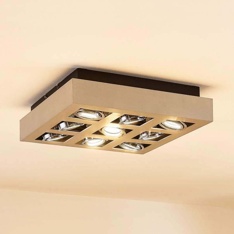 Vierhoekige LED-plafondlamp Vince, 9-li.