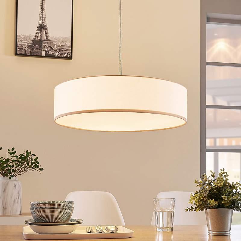 Crèmekleurige LED-pendellamp Sebatin van stof
