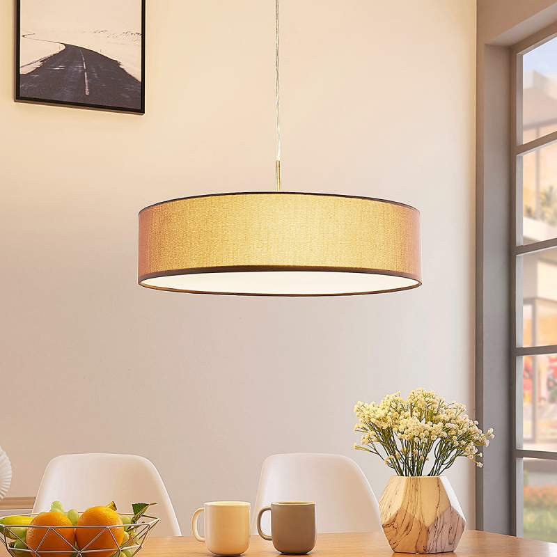 Lichtbruine textieln pendellamp Sebatin m. E27-LED