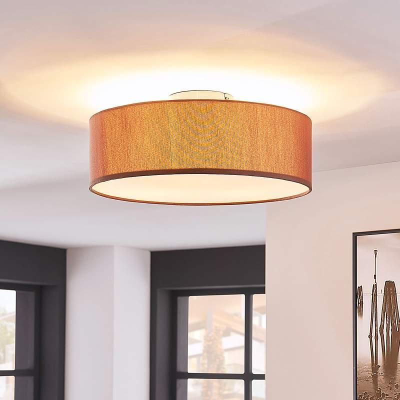 Elegante plafondlamp Sebatin in lichtbruin