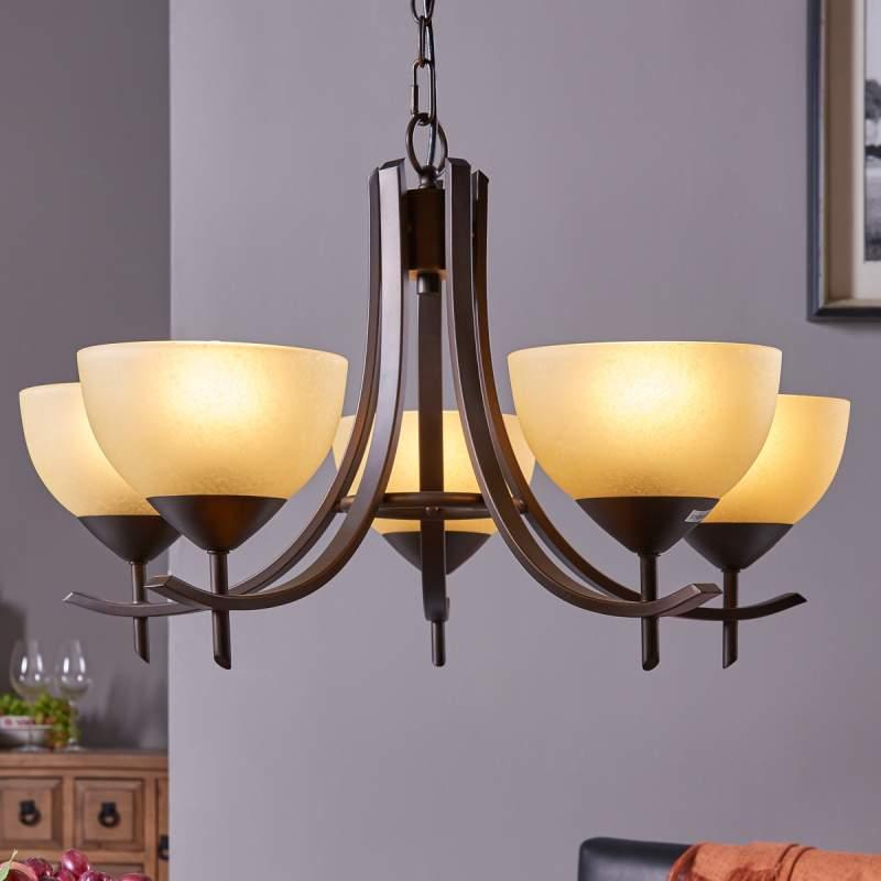 Janos - hanglamp met 5 glazen kappen