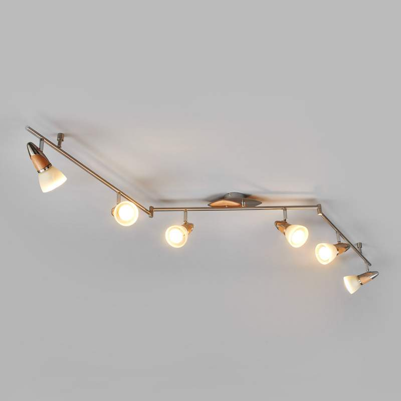 6-lamps houten LED-plafondlamp Marena