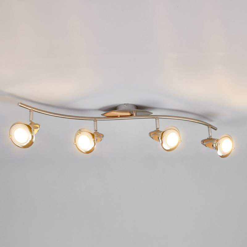 Houten plafondlamp Sharleen, 4-lamps