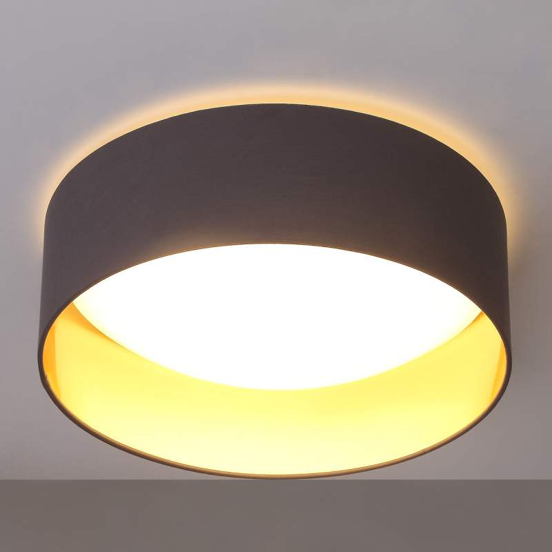 Grijze LED-plafondlamp Coleen, binnenin goud