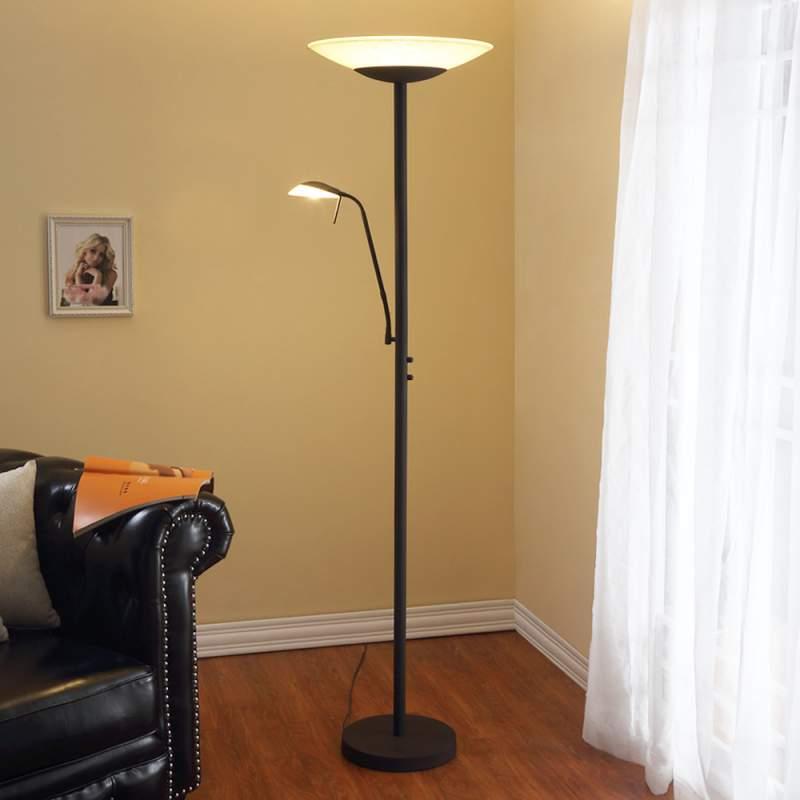 LED staande lamp Ragna met leeslamp, roestbruin
