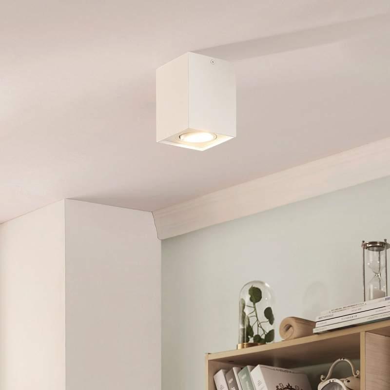 Hoekige GU10-plafondspot Mikail in wit