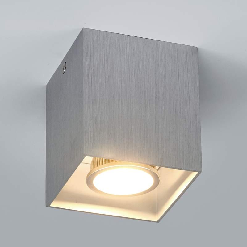 Aluminiumkleurige opbouwplafondlamp Carson, hoekig