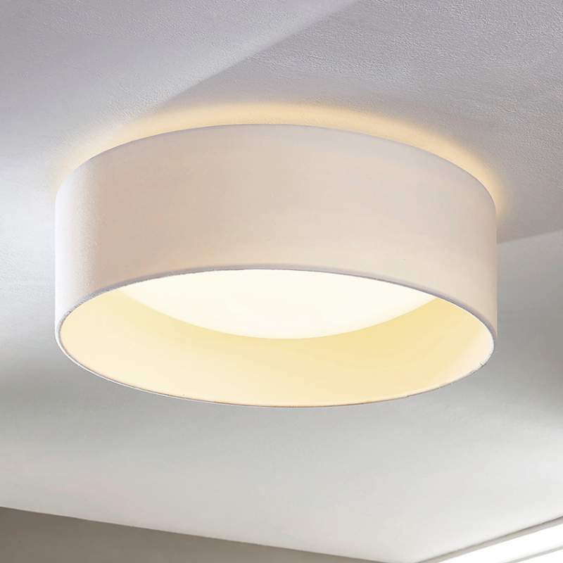 Witte stoffen plafondlamp Franka met LED's