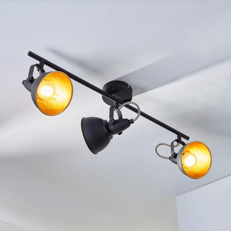 Drielamps plafondlamp Julin, zwart-goud