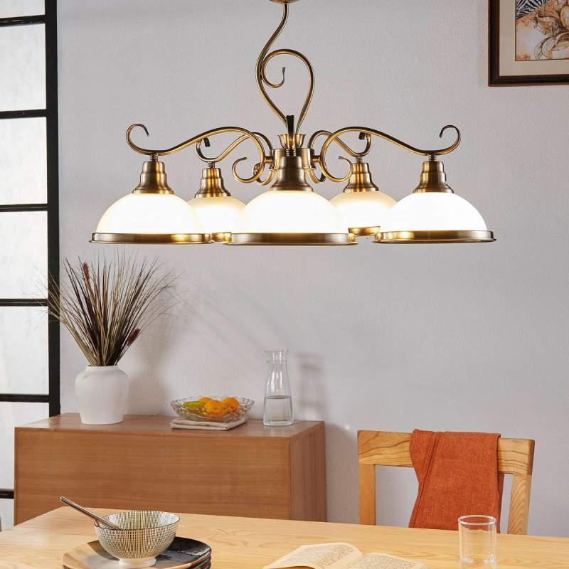 Stijlvolle, vijflamps hanglamp Frieda