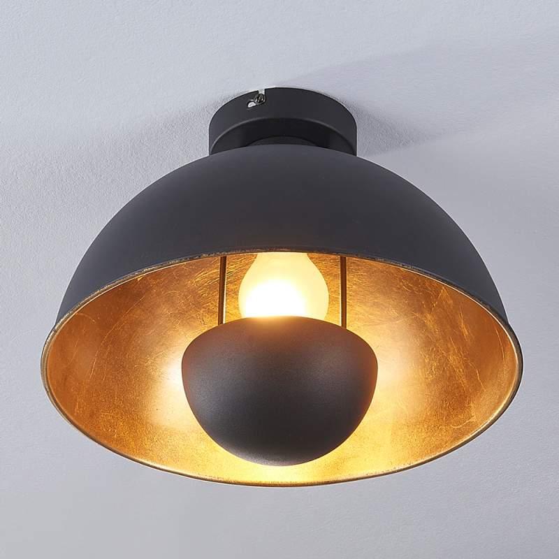 Zwart-gouden plafondlamp Lya