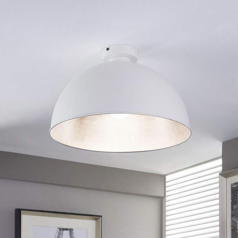 Ronde plafondlamp Lya, wit-zilver