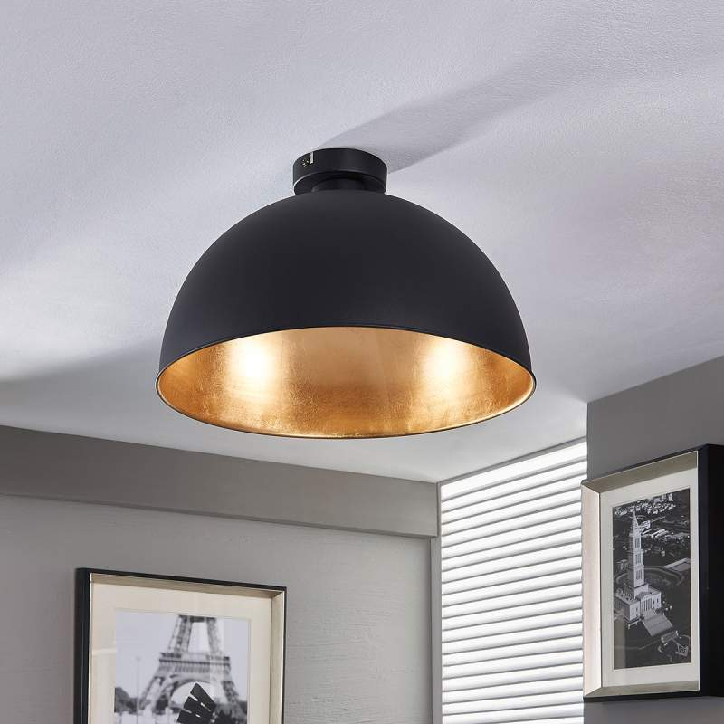 Mooie plafondlamp Lya, zwart-goud