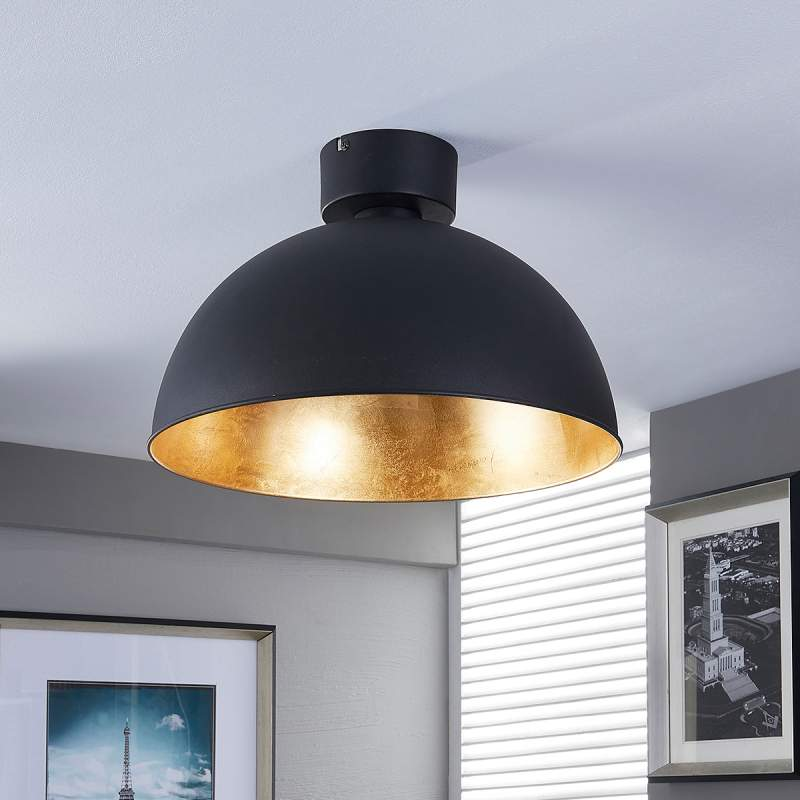 Mooie LED plafondlamp in zwart en goud