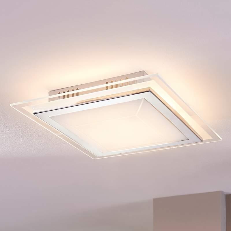 Vierkante glazen plafondlamp Alessio met LED