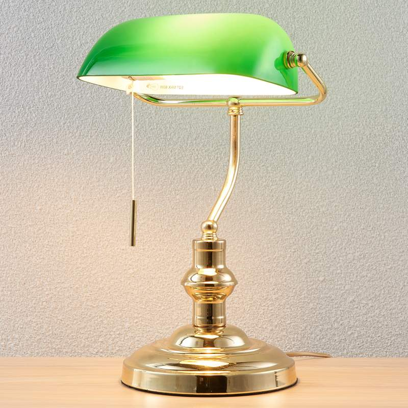 Bankierslamp Milenka, gepolijst messing