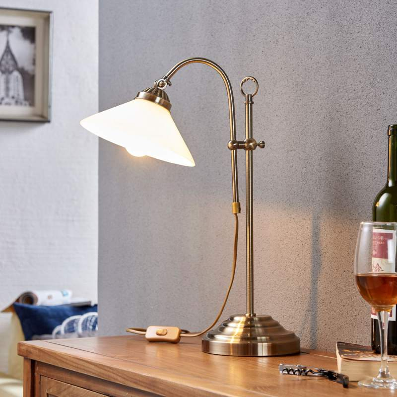Klassieke tafellamp Otis in oud-messing