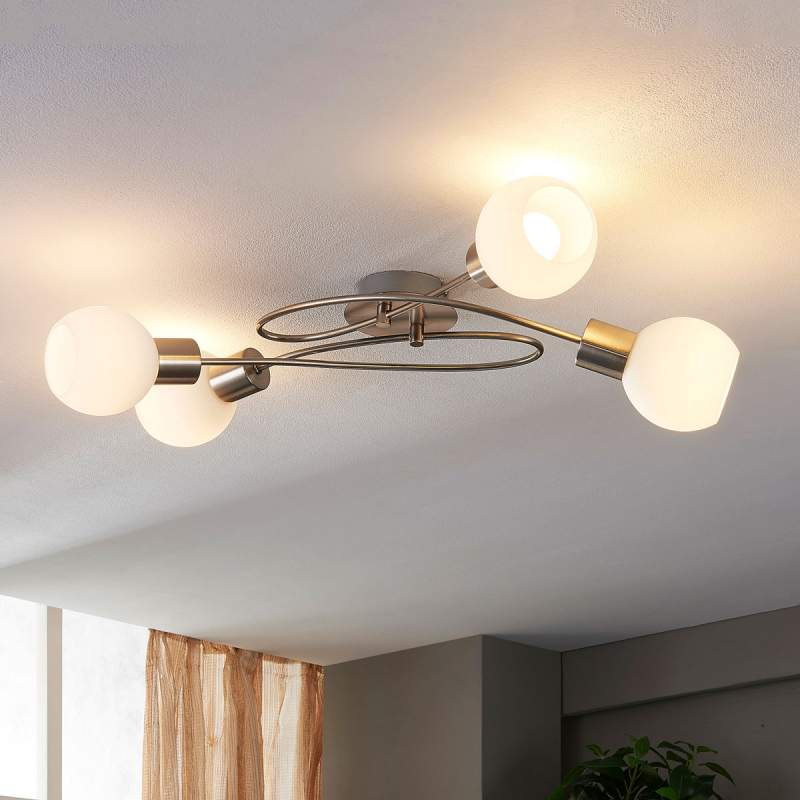 Vierflammige LED plafondlamp Hailey, mat nikkel
