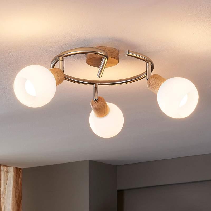 Houtlook plafondlamp Svenka, LED E14