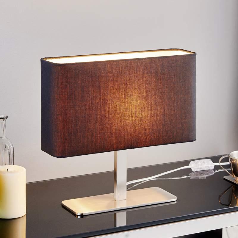 Zwarte, vierkante textiel lamp Nisa