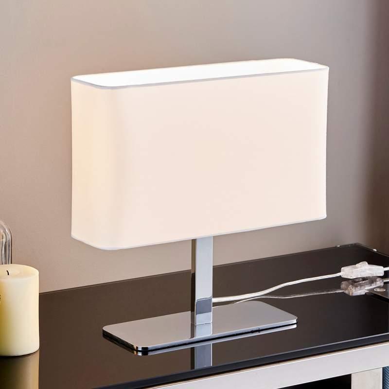 Hoekige, witte textiel tafellamp Nisa