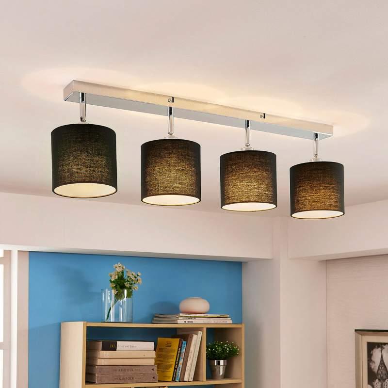Plafondlamp Mairi met zwarte kappen en leds