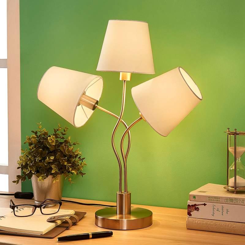3.lamps tafellamp Sharon met stoffen kappen