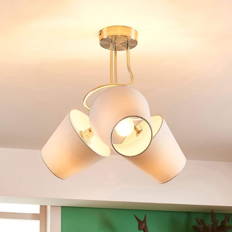 Mooie plafondlamp Tima met 3 stoffen kappen