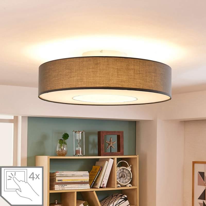 Plafondlamp Ragnar met LEDs en grijze kap
