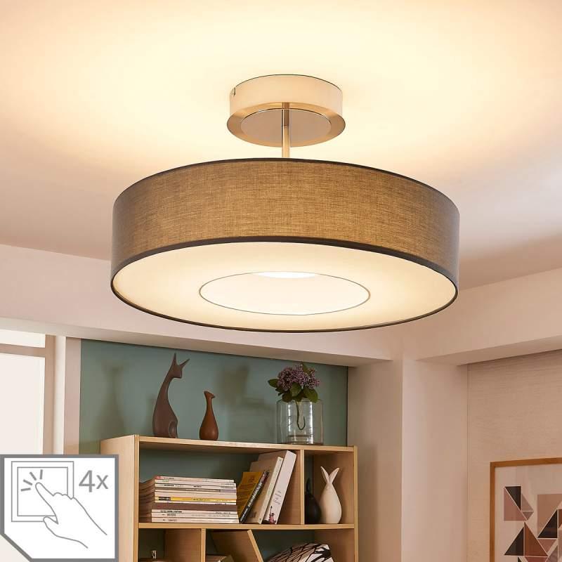 Ragnar - LED plafondlamp van grijze stof