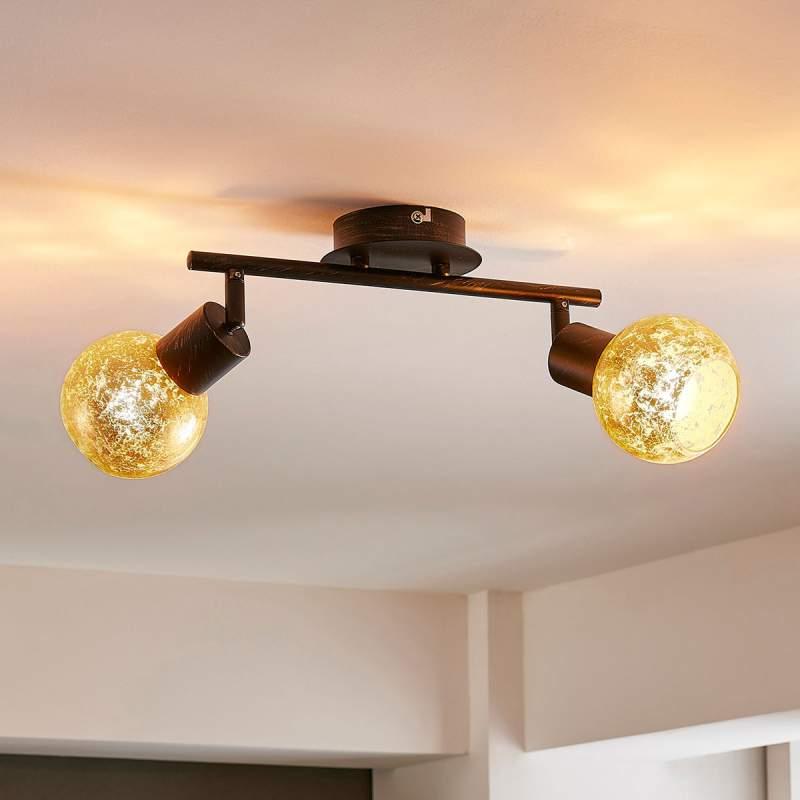 2-lamps plafondlamp Julien met glazen kappen