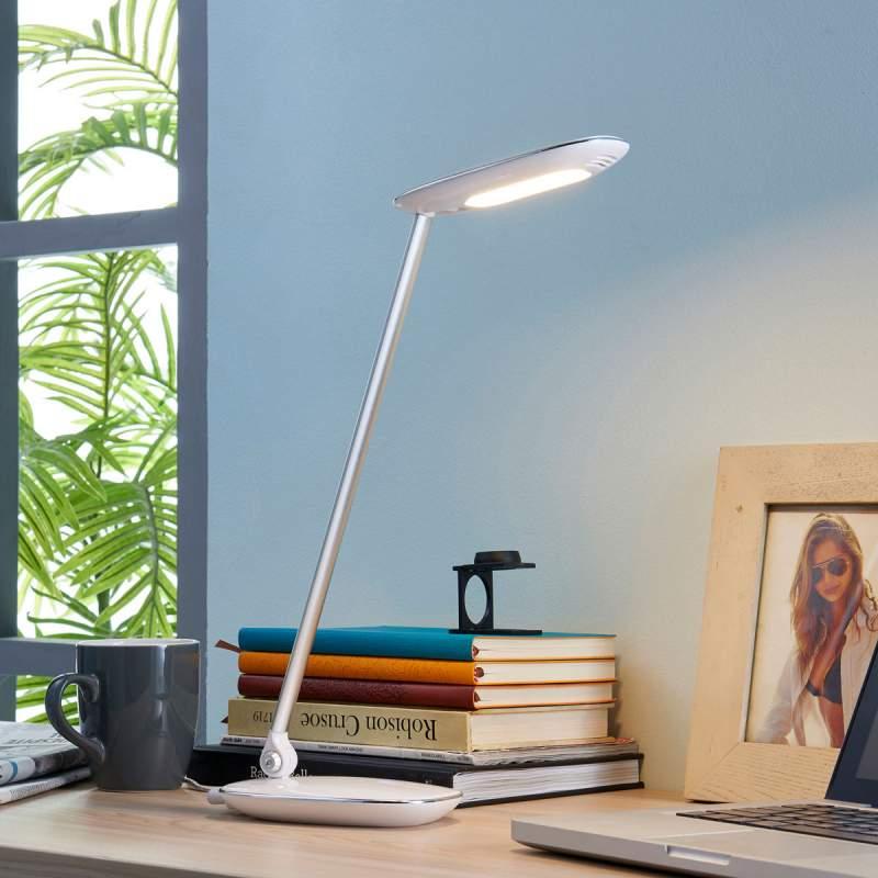 Witte LED bureaulamp Verena, USB-aansluiting