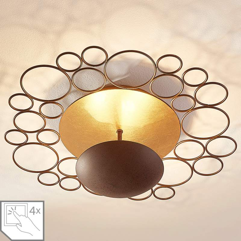 Indirect verlichtende LED plafondlamp Pinja, roest