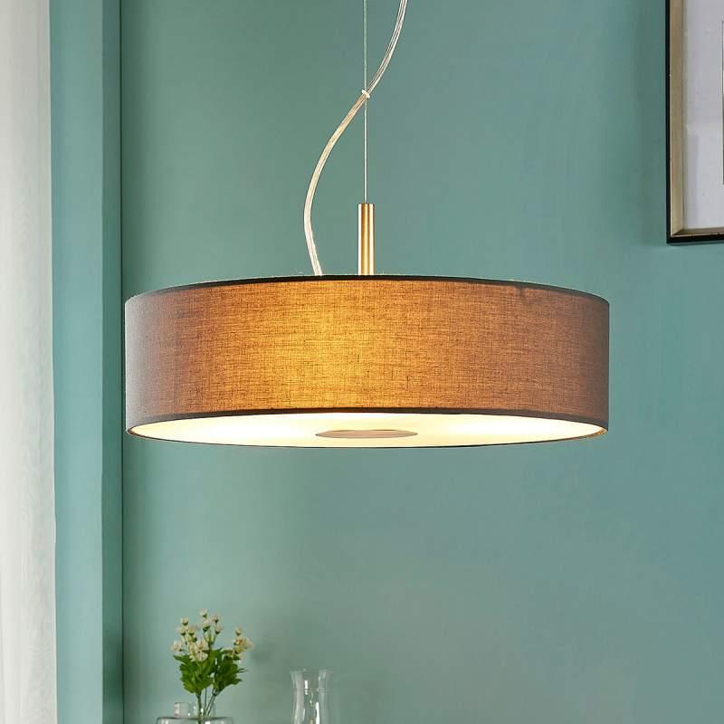 Grijze stoffen hanglamp Dwayne in ronde vorm