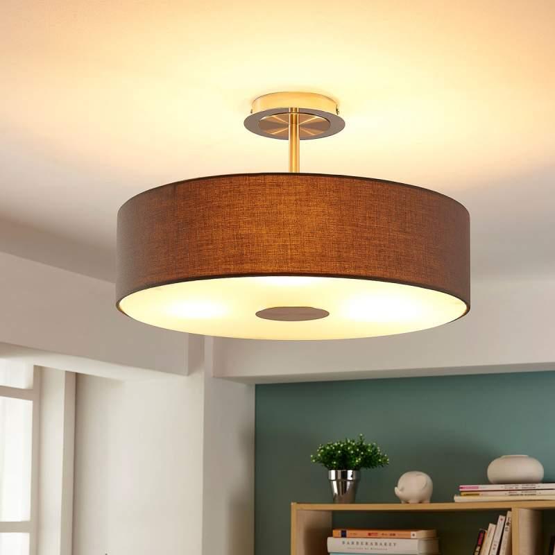 Dwayne - textiele plafondlamp in grijs, rond