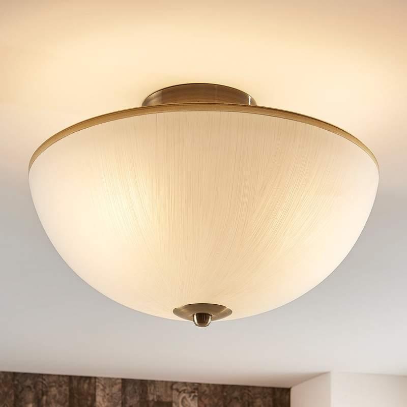 Ronde glazen plafondlamp Sanja, oud-messing