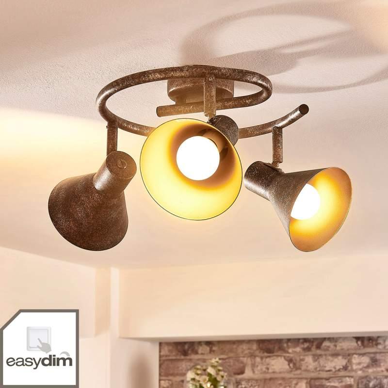 Dimbare LED plafondlamp Zera roestkleur en goud