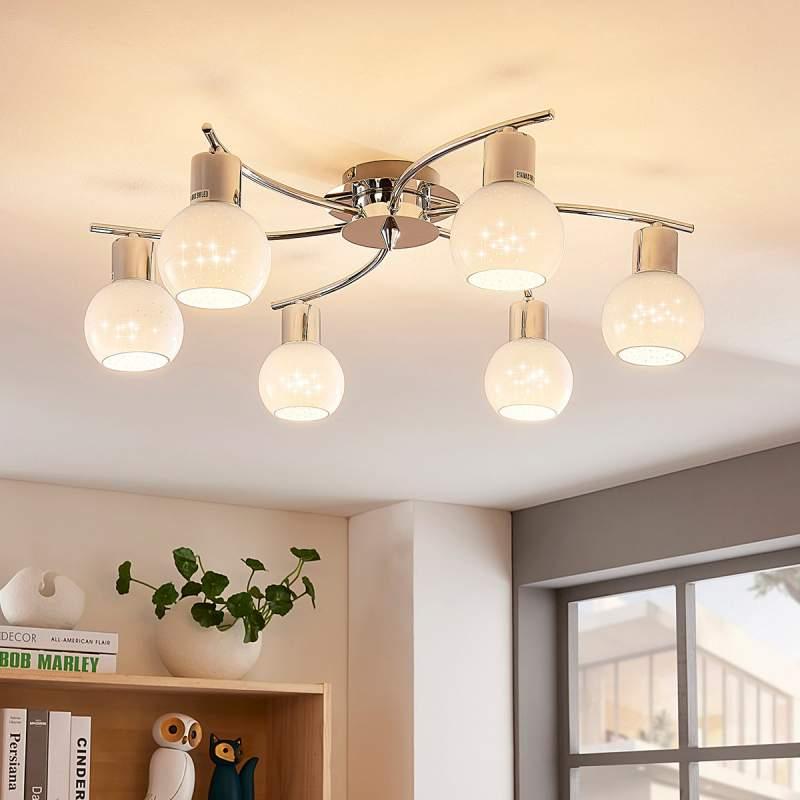 Opaalglazen LED plafondlamp Matthea zes lampjes