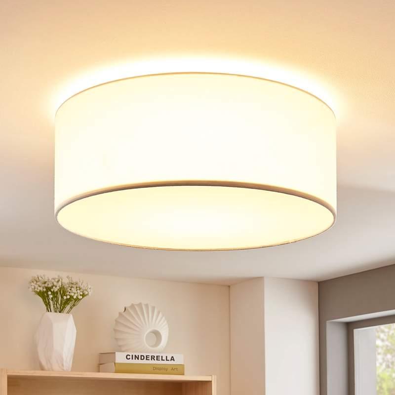 Crèmekleurige LED plafondlamp Lukas van stof