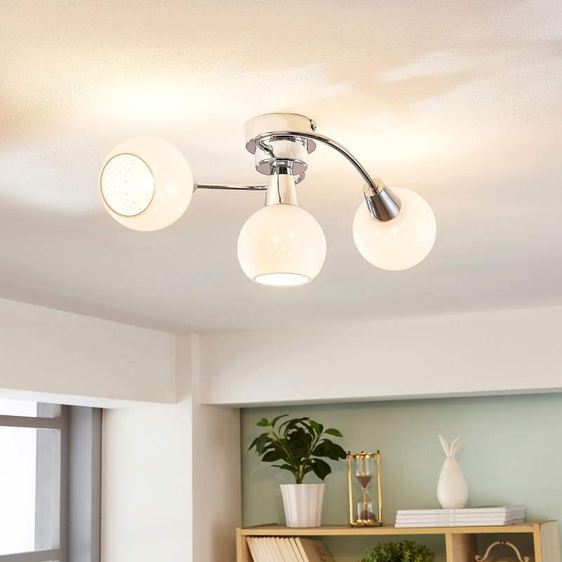 LED plafondlamp Benedikt met opaalwitte glazen
