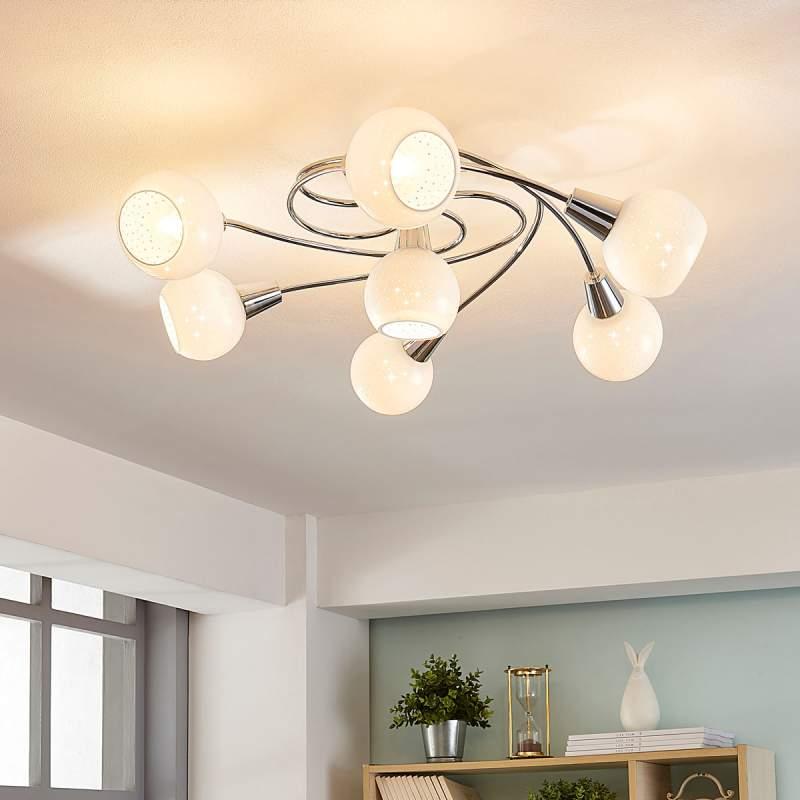 7.lamps LED plafondlamp Benedikt, wit glas