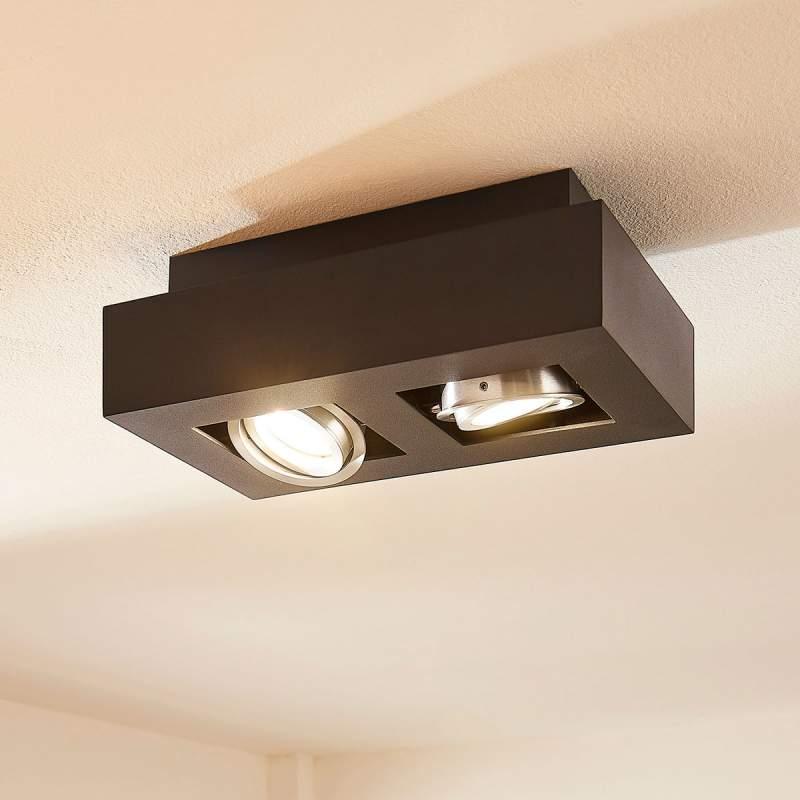 2-lamps LED plafondlamp Vince in zwart