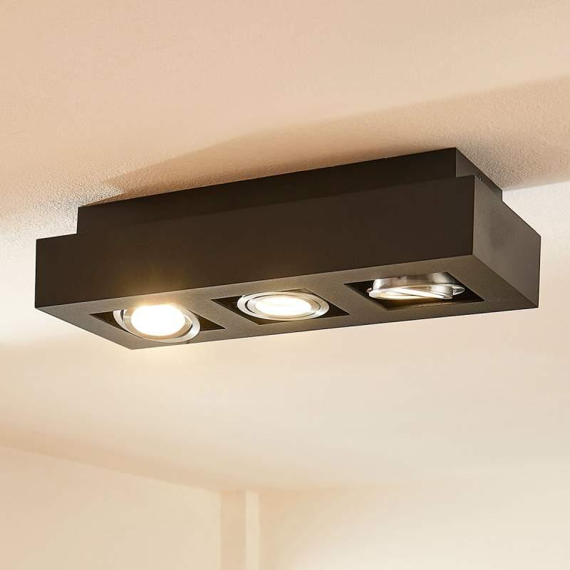 3-lamps GU10 LED plafondlamp Vince, zwart