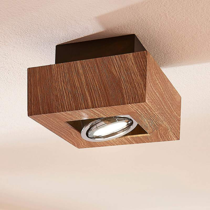 Houtkleurige GU10 LED plafondlamp Vince
